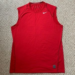 NIKE PRO Men's Red Dri-Fit Fitted Muscle Shirt 💪